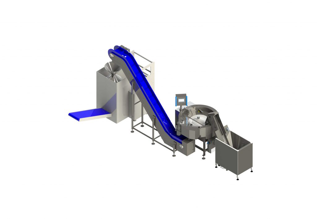 This is the vertical bagging feeding solution to count, distributing and loading your product.