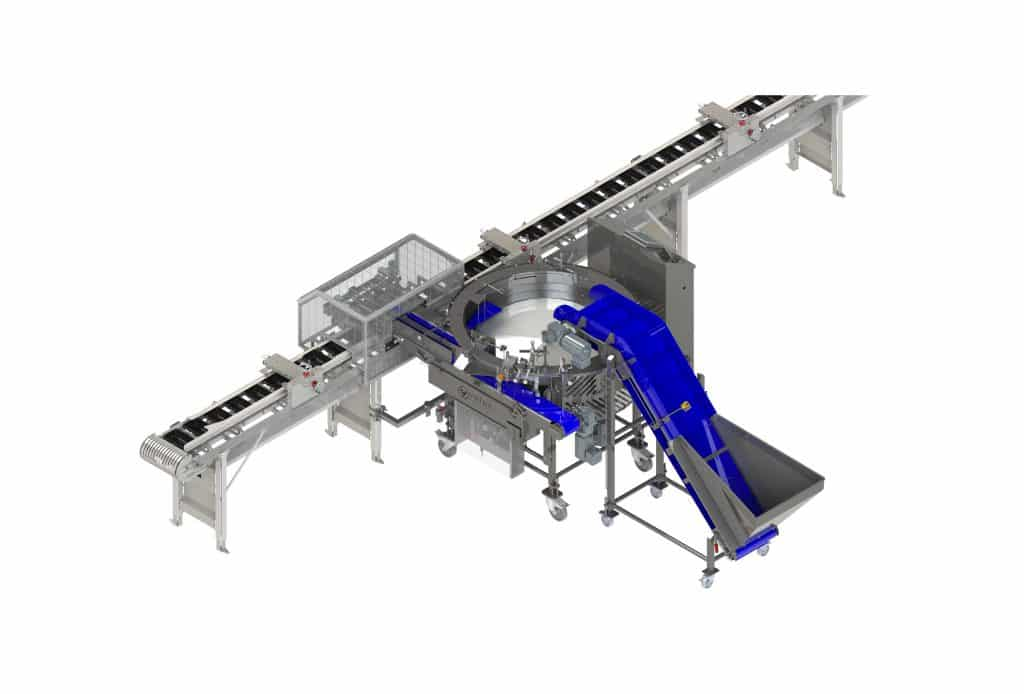 This is the tray feeder solution to count, distribution and loading products.